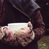Rękawiczki zimowe CHERRISH Kwiaty Kości Ręka