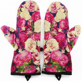 Rękawiczki zimowe CHERRISH Różowe Kwiaty
