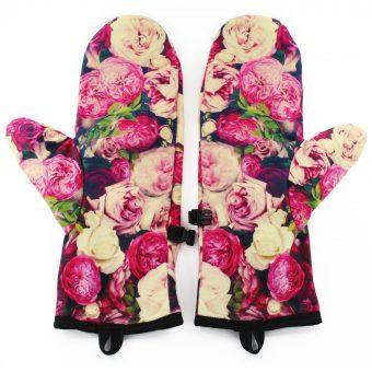 Rękawiczki zimowe CHERRISH Różowe Kwiaty Wnętrze